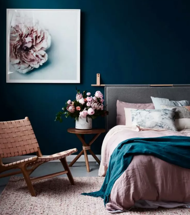 teal colored bedrooms