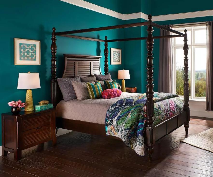 teal bedroom walls
