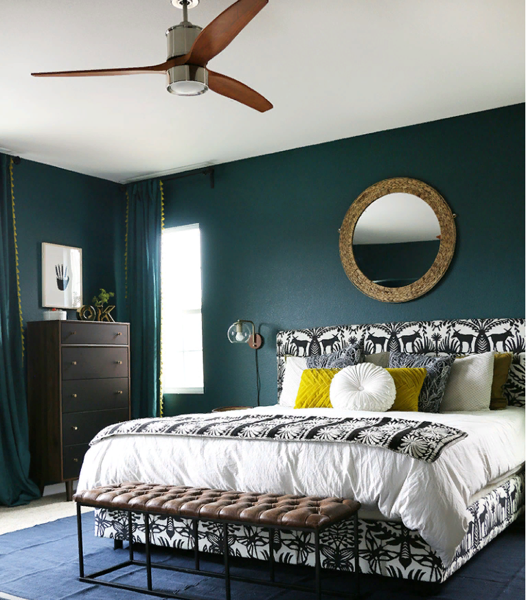 dark teal bedroom