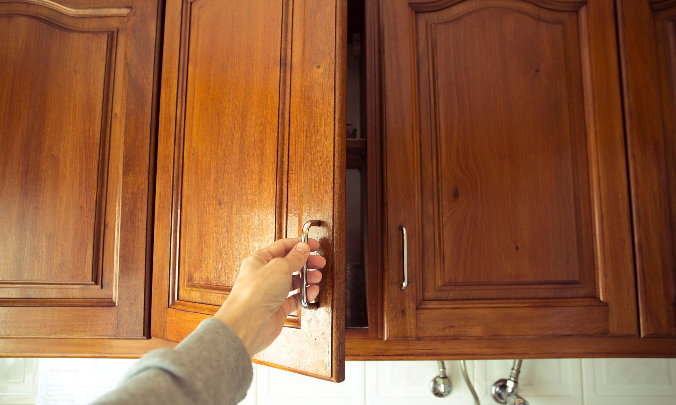 stained wood kitchen cabinets