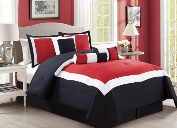 red black and white bedding
