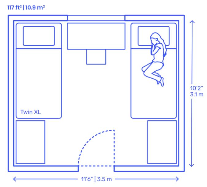 средний размер спальни